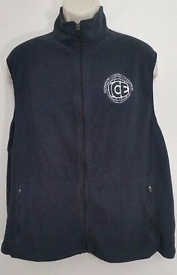 LL Bean Mens XL Fleece Vest Black Full Zip Embroidered Logo Personalized Patch