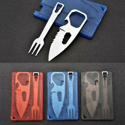 Multi-function Credit Card Knife Fork Kit Outdoor Camping EDC Survival Tool Fine