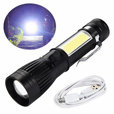 New T6 COB Flashlight Zoomable LED Torch 18650 USB Rechargeable Light Lamp US