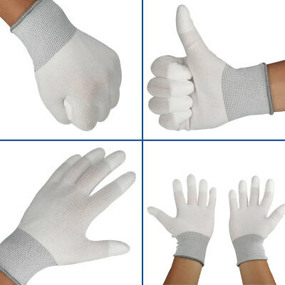12 pairs Nylon PU Safety Anti-stat Work Gloves Builders Grip Palm Coated Glove