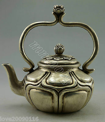Collectible Old Handwork silver plate copper Carved Lotus Big Tea Pot teapot
