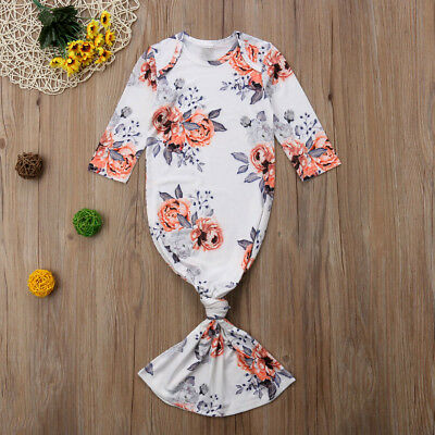 Newborn Infant Baby Girl Floral Sleepwear Pajamas Robe Gown Cotton Clothes 0-24M