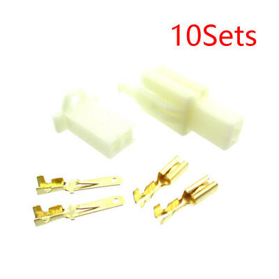 10x ATV Scooter 2 Pins Electrical Wire Connector Terminal Harness Plug Socket