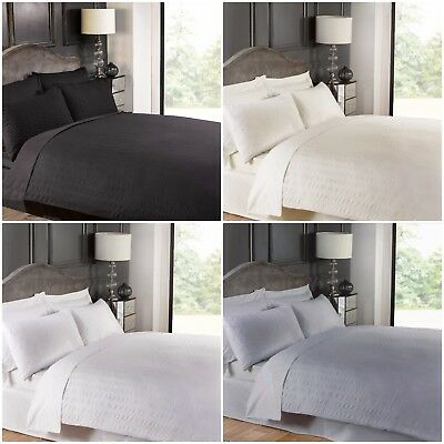 Plain Dyed Seersucker Duvet Quilt Cover & Bedding set With Pillowcases All sizes