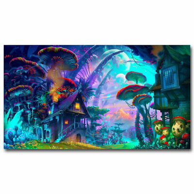 119065 Mushroom Trippy Psychedelic Abstract Decor WALL PRINT POSTER UK
