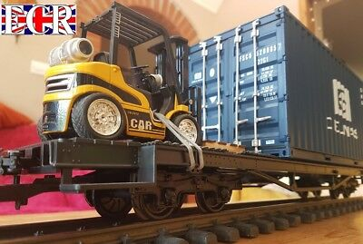 X/LONG G SCALE FLATBED, FORKLIFT, LOAD, PALLET & SHIPPING CONTAINER 45mm GAUGE