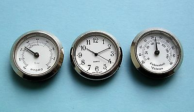 36mm BEZEL insertion Watch Thermometer Hygrometer Movements silver white arabic