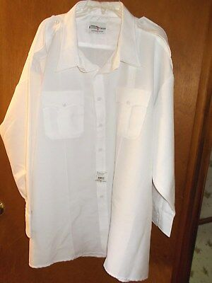 US NAVY OFFICER WHITE DRESS SHIRT LONG SLEEVE w/Shoulder Straps Size 21/21.5  OH