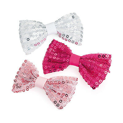 7cm Pink White Sequin 3 Pack Bow Hair Clips Girls Ribbon Bows Kids Accessory