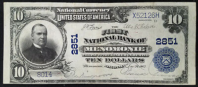 Series of 1902 $10.00 Nat'l Currency, First National Bank, Menomonie, Wisconsin!
