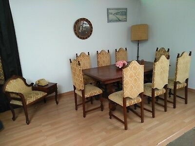 Dining Table Living Room vintage  60´s + 8 Chairs in wood + vintage flirt bank