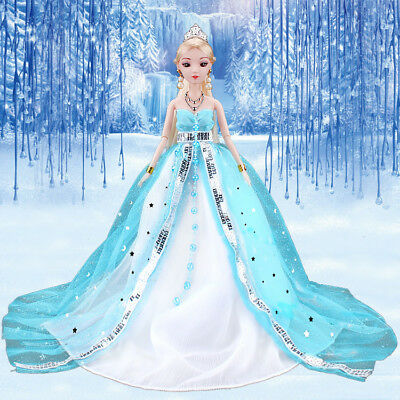 3D eye Barbie doll12 joints Ice Princess Blue Wedding dress doll with costume