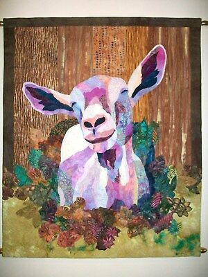 Handmade Textile Art Entitled The Happy Goat