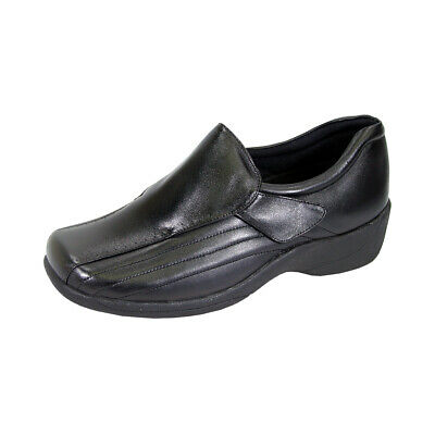 31974dcb406a 24 HOUR COMFORT Odele Women Wide Width Slip On Leather Shoe with Hook and  Loop
