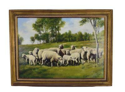 French Vintage Oil Painting on Canvas Signed Carlos Alberto, Herd of Sheep