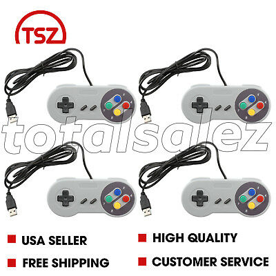 4 For Super Nintendo SNES Video Mac PC Computer System Game Pad USB Controller