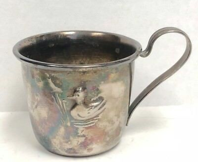 Vintage Silver Nursery Baby Cup With Duck Impression
