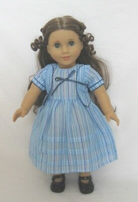 """Doll Clothes 18"""" Historical Blue Stripe Dress For American Girl Doll Felicity"""