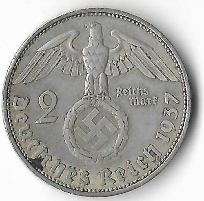 Rare Old SILVER 1937 WWII Germany Great War Eagle WW2 German BERLIN Coin US:262