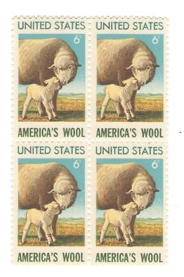 America's Wool Lamb 46 Year Old Mint Vintage Stamp Block from 1971
