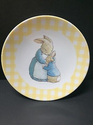 Pottery Barn Kids EASTER Beatrix Potter Peter Rabbit PLATE Gingham Table NEW YEL