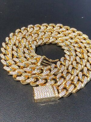 Miami Cuban Link Chain 14k Yellow Gold Over Solid 925 Silver 10mm HEAVY ICED OUT