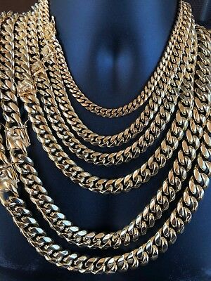 Men's Miami Cuban Link Chain 18k Gold Plated Stainless Steel Made By Harlembling