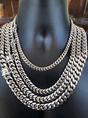 Men's Miami Cuban Link Chain Solid Stainless Steel Looks Just Like Silver 8-18mm
