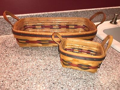 2 Longaberger Leather Handle Basket Crisco American Red Blue 1993 Insert Liners
