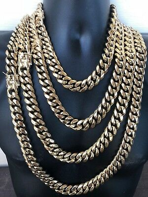 "HARLEMBLING 18mm Mens Miami Cuban Link KILO Chain 14k Gold Plated HEAVY 18""-30"""