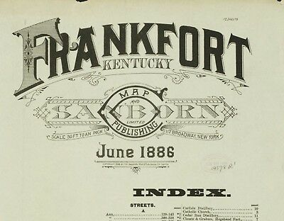 Frankfort, Kentucky~Sanborn Map© sheets~12 sheets some with probe sites