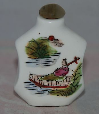 Vintage Chinese Porcelain Snuff Bottle Decorated Figure on Boat w/Jade Stopper