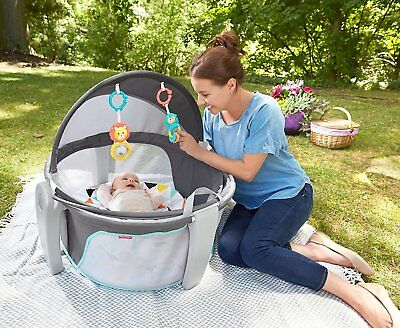 Fisher Price On-the-Go Baby Dome Portable Outdoor Travel Play Pen Pad Yard Fold