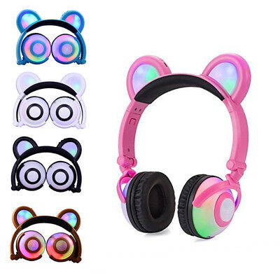 Foldable Flashing Glowing Bear Ear Headphones Gaming Headset Earphone LED Light