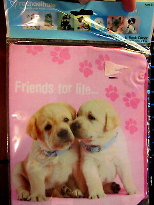 "Friends 4 Life Stretchable Fabric Bookcover Fits Books Over 8"" x 10"" Puppies Dog"
