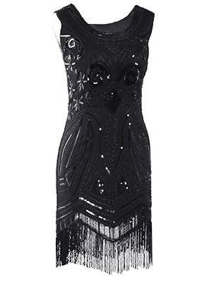 20sGatsby 1920's Flapper Vintage Sequins Dress Beaded Black Fringed Plus Size