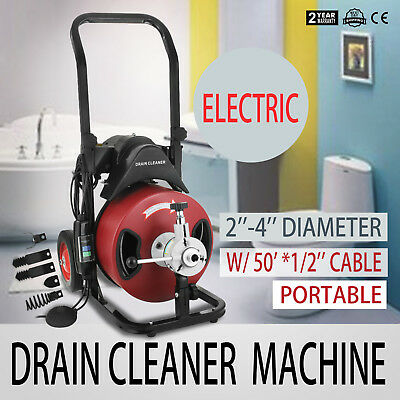 50FT*1/2'' Drain Auger Pipe Cleaner Cleaning Machine Rigid 1750rpm Plumbing