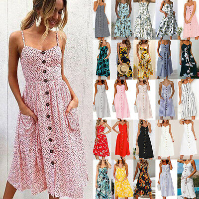 AU Womens Holiday Strappy Button Ladies Summer Beach Party Swing Dress Plus Size