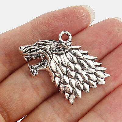 5Pcs Silver tone Wolf Head Charms Pendants 35x24mm