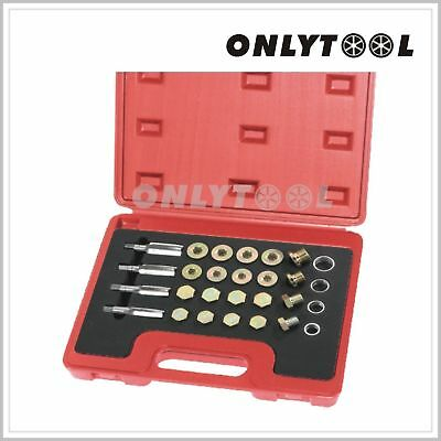 24pc Oil Pan Sump Drain Plug Thread Repair Kit Metric Tool Set M13 M15 M17 M20