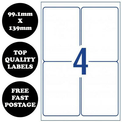 [4 Per Page] A4 Self Adhesive Address Labels Laser Inkjet Print Mailing Stickers