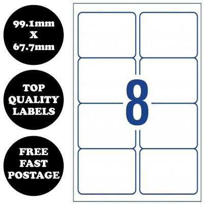 [8 Per Page] A4 Self Adhesive Address Labels Paper Sheet Print Mailing Stickers