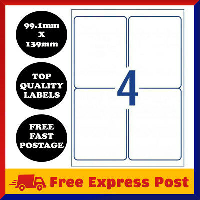[4 Per Page] A4 Self Adhesive Address Labels Paper Sheet Mailing Sticker 4 UP