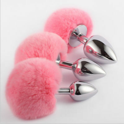 Cute Bunny Rabbit Tail Tear Drop Butt Plugs 3 Sizes Silver Funny Toy Anal Plug