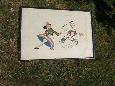 Tatty Original Old French Vintage  Folk Naive Art Needlepoint Picture Folk Dance