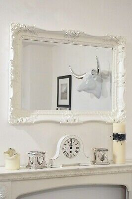 Large White Very Ornate Antique Design Big Wall Mirror 3Ft1 X 2Ft3 94cm X 68cm