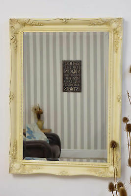 3Ft X 2Ft2 91cm X 66cm Large Cream French Antique Style Ornate Ivory Wall Mirror