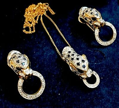 9ct Gold Diamond And Sapphire Leopard Necklace And Earring Set