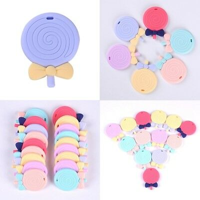 Baby Silicone Teether Pendant Teething Necklace Chew Bite Lollipop Nursing Toys