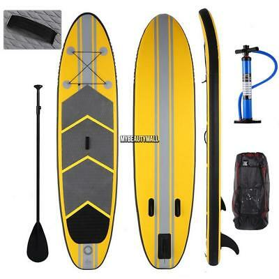 10ft Inflatable Stand Up Paddle Board SUP Adjustable Paddle Travel Backpack 6''